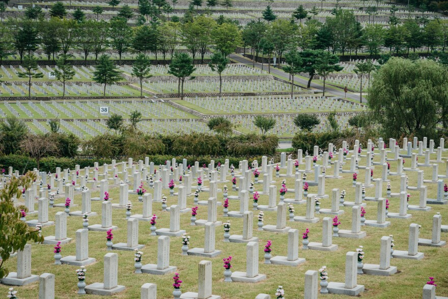Due to COVID-19 restrictions, the Seoul National Cemetery is virtually empty. The cemetery is only allowing a limited number of visitors who make reservations online, and was closed during the Chuseok holidays.