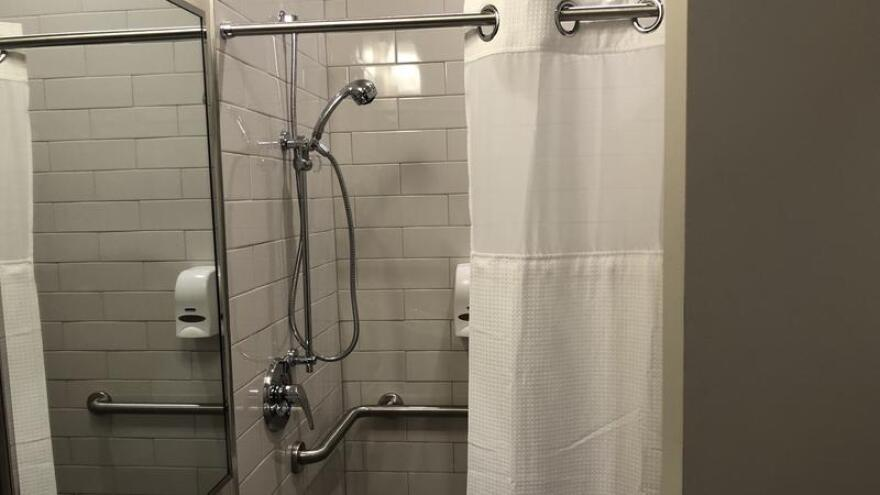 Each exam room comes with a shower.