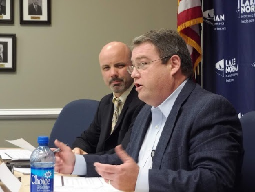 State Traffic Engineer Kevin Lacy (right) told the Lake Norman I-77 Advisory Committee that accidents in the I-77 toll construction zone are up 69 percent from before the project started.