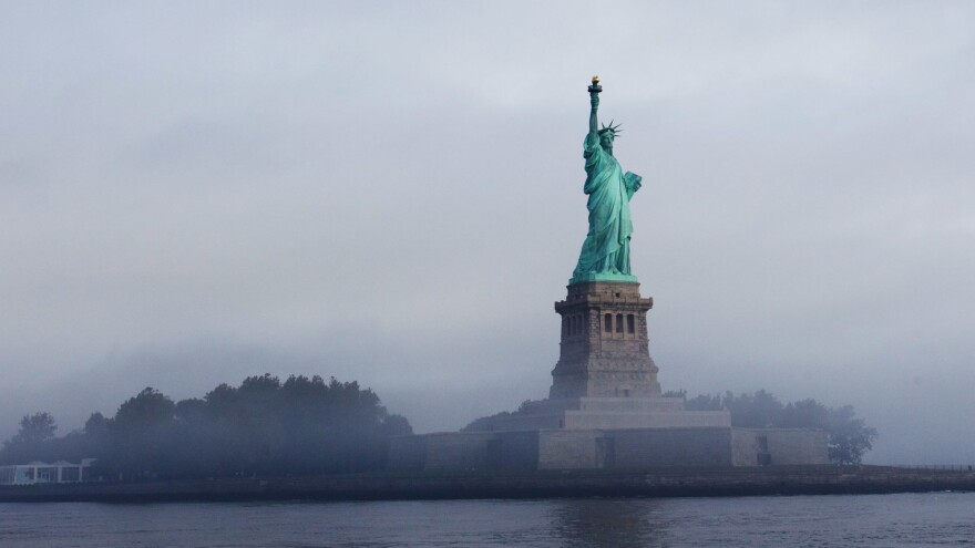 The Statue of Liberty, which stands on Ellis Island in New York Harbor, was the America's busiest immigrant inspection station from 1892 until 1954.