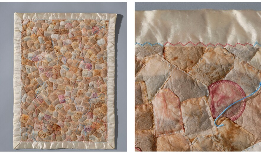 "Artist Ruth Tabancay has played up the comforting nature of tea through a series of quilts made out of tea bags. Like quilts, she says, ""I felt that tea bags carried with them connotations of warmth and intimacy."""