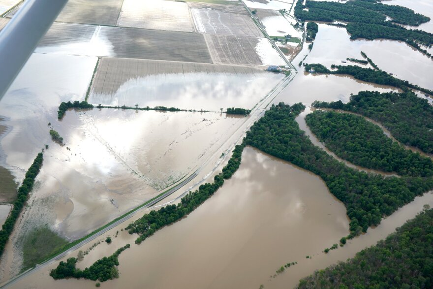 An aerial image of flooded fields in Lawrence County on Thursday.