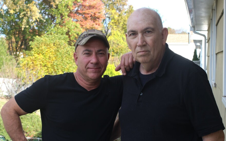 Veterans Michael Menta (left) and his uncle, Sal Leone, in West Hartford, Conn., last month.