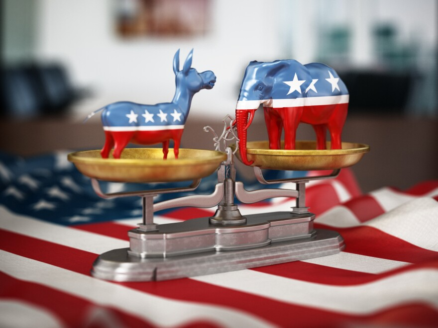 3-D illustration of Republican and Democrat party political symbols elephant and donkey on the American flag.