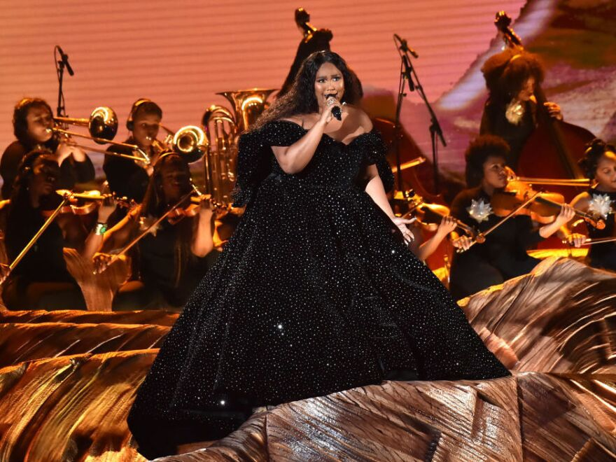 Lizzo, in the opening performance during the 62nd Grammy Awards on Sunday evening in Los Angeles.