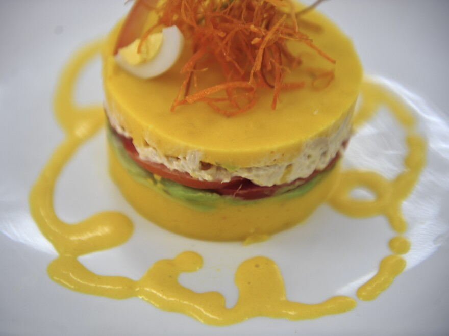 Causa is a traditional Peruvian dish of potatoes stuffed with chicken. This one was cooked at a culinary institute in Lima, Peru, but a version may soon be appearing on a plate near you, thanks in part to a push by Peru's government to promote the national cuisine.