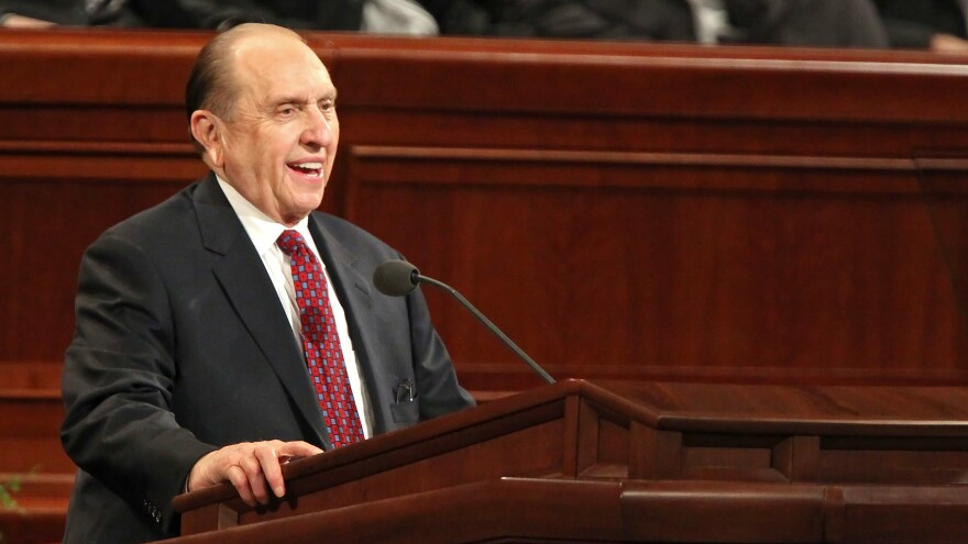 Thomas Monson delivers the opening talk at the 180th Annual General Conference of the Mormon church before thousands of members in 2010 in Salt Lake City.