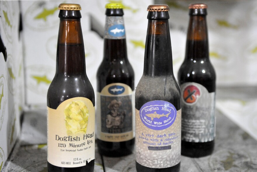 A stash of vintage beers at Dogfish Head Brewery in Delaware.