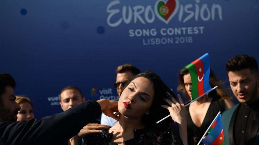 Azerbaijani singer Aisel during the red carpet ceremony of the 63rd edition of the Eurovision Song Contest in Lisbon, on May 6, 2018.