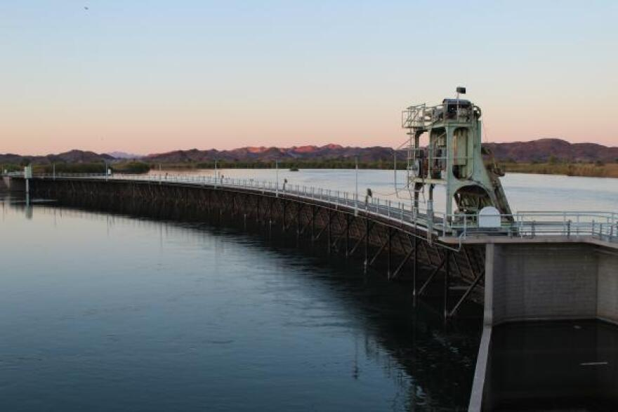 The Imperial Dam on the California - Arizona border diverts Colorado River water to irrigate farms in California's Imperial and Coachella valleys.