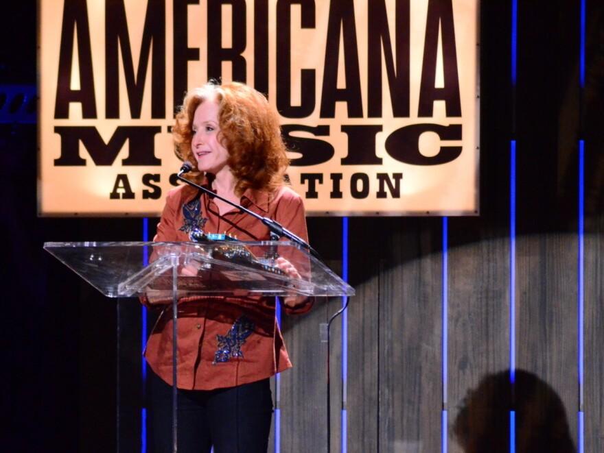Bonnie Raitt accepts her Lifetime Achievement Award at the Americana Music Awards in Nashville on Sept. 12, 2012.