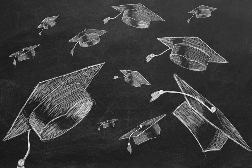 Illustration of graduation caps falling through the air