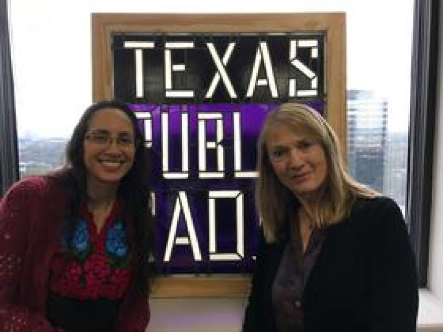 """Laurie Coyle (right), a documentary filmmaker and writer, in the TPR studio with Norma Martinez (left) to discuss Coyle's new documentary """"Adios Amor: The Search for Maria Moreno."""""""