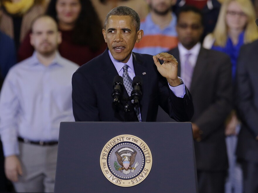 """President Obama speaks about raising the minimum wage to $10.10 per hour during an event last week in New Britain, Conn. The effort to raise wages is seen as part of his State of the Union promise of a """"year of action."""""""