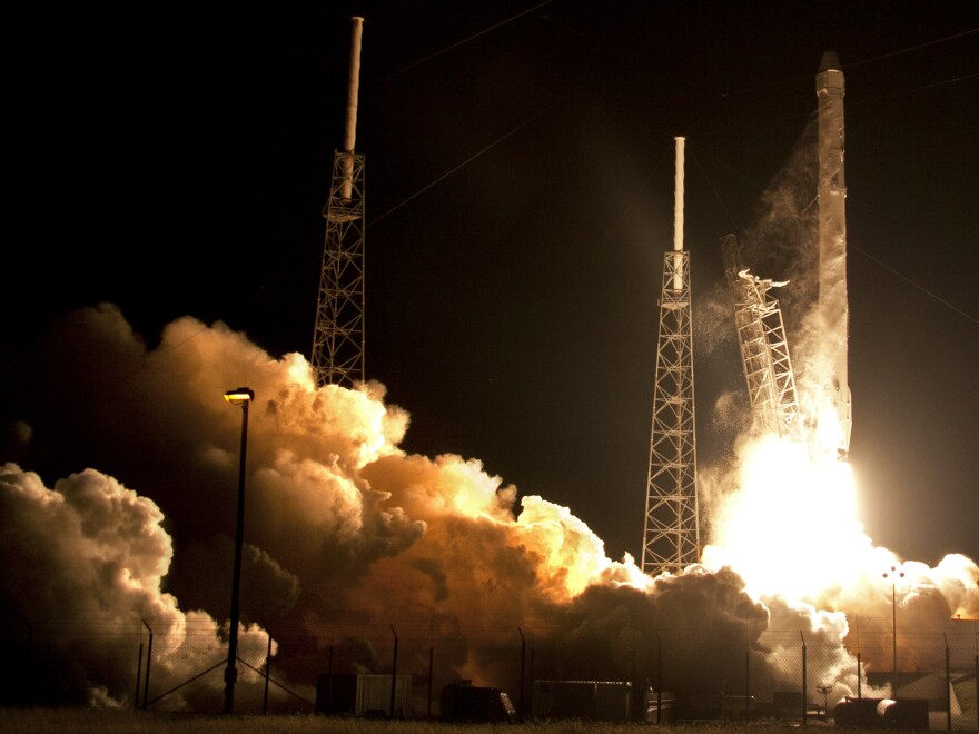 The Falcon 9 SpaceX rocket lifts off from Space Launch Complex 40 at the Cape Canaveral Air Force Station in Cape Canaveral, Fla., on Saturday.