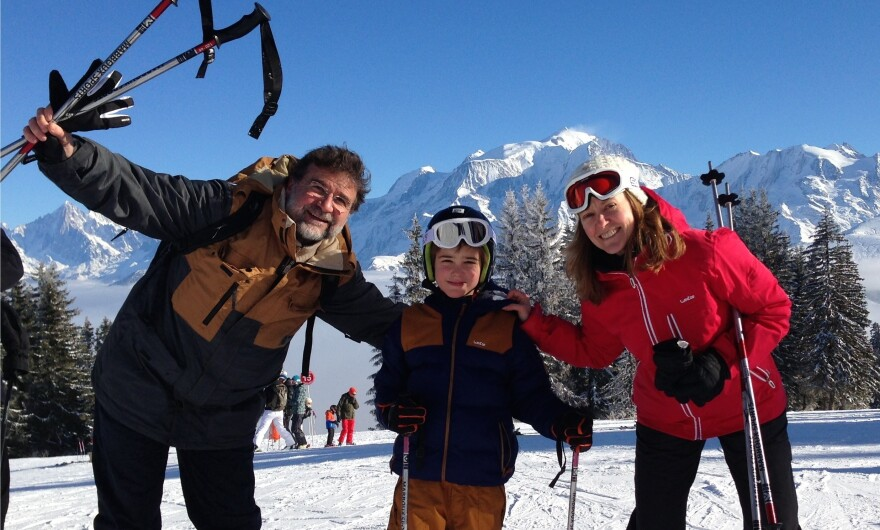 NPR Paris correspondent Eleanor Beardsley with her husband, Ulysse Gosset, and son, Maxime, on a ski vacation in the Alps in February. When she first moved to France, Beardsley enjoyed the frequent holidays. But combined with many school breaks, she and other working parents often find it becomes a burden.
