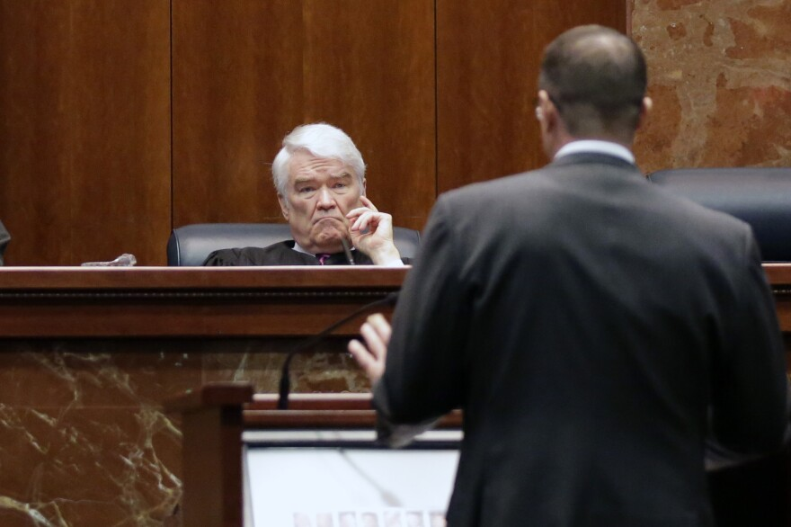 Texas Supreme Court Justice Nathan Hecht hears a case on Nov. 2, 2015, in Austin, Texas.