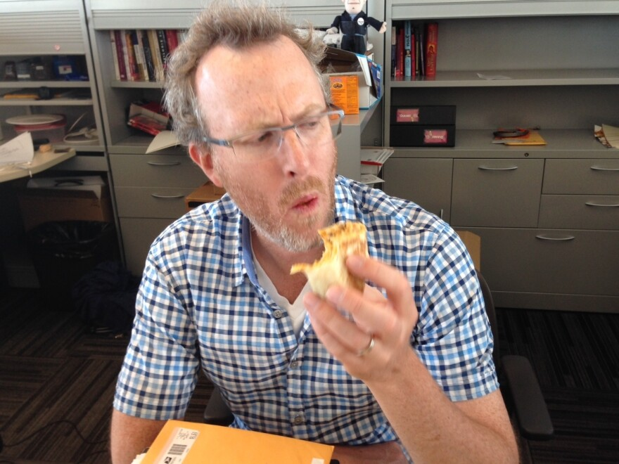 Mike considers replacing his plaid shirt with a quesadilla.