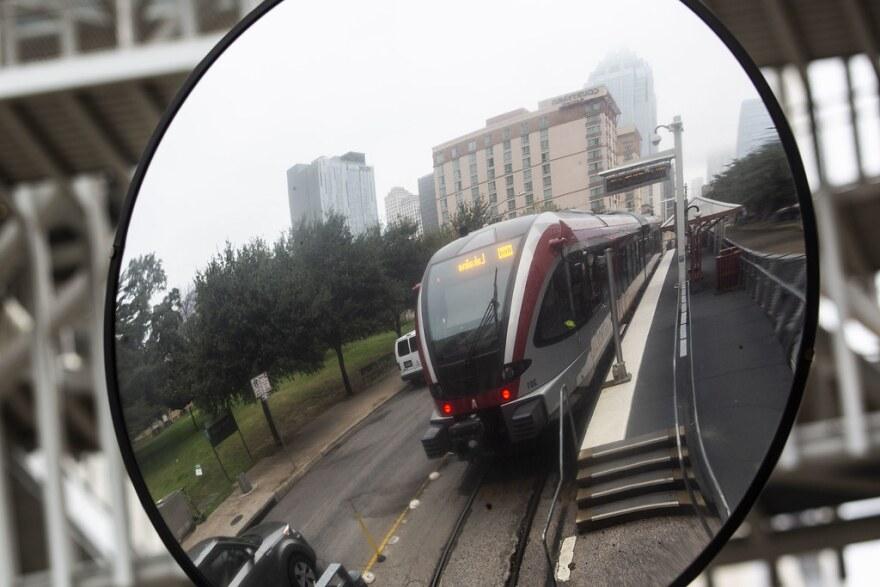 A MetroRail train