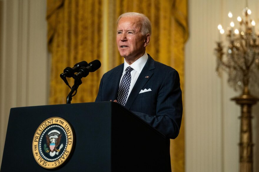 U.S. President Joe Biden delivers remarks at a virtual event hosted by the Munich Security Conference in the East Room of the White House in Washington, DC.