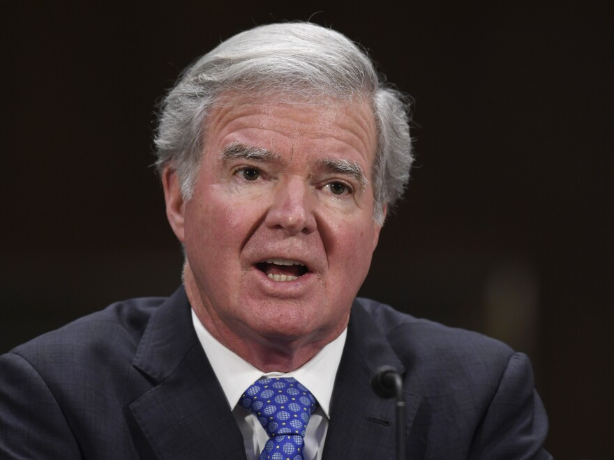 NCAA President Mark Emmert testifies on Capitol Hill in February.