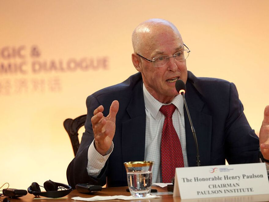 Former U.S. Treasury Secretary Henry Paulson speaks during a panel discussion on energy and the environment in Washington, DC.
