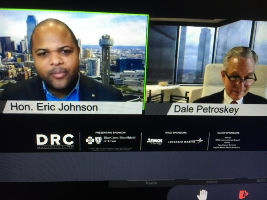 mayor.jpg computer screen image shows face of Dallas Mayor Eric Johnson on right, Dallas Regional Chamber leader Dale Petroskey on right
