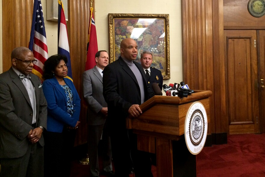 James Clark of Better Family Life speaks at a news conference in the mayor's office on March 19, 2015.