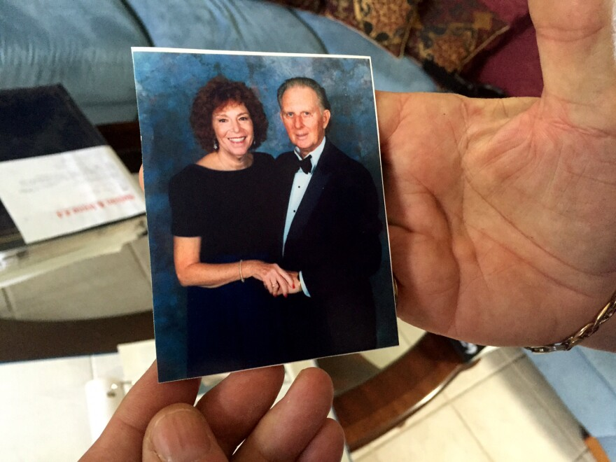 Nelson Jantzen shows a photo of him and his deceased wife, Dianne.