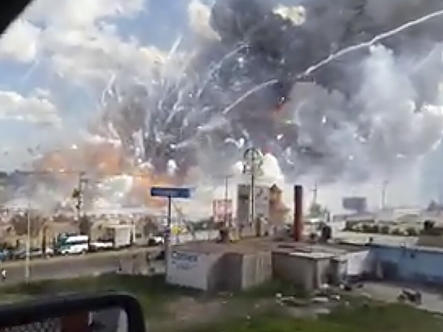 An explosion ripped through the San Pablito fireworks market in Tultepec, Mexico, on Tuesday.