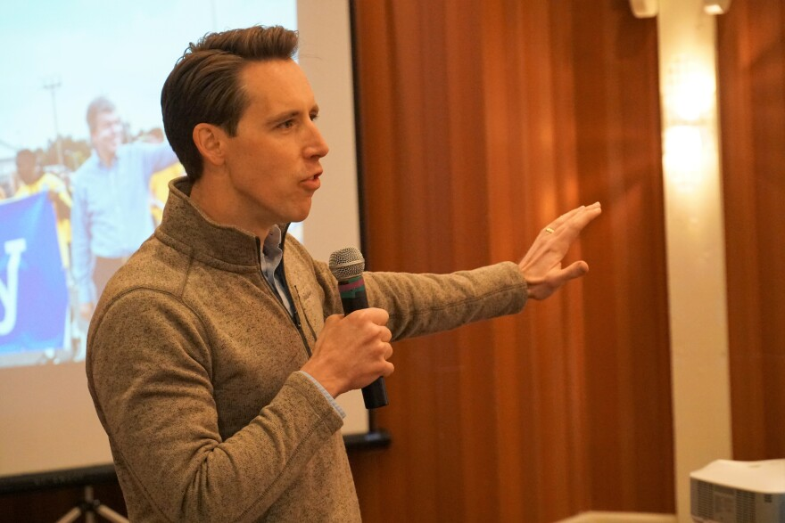 U.S. Sen. Josh Hawley, R-Mo., speaks at a breakfast gathering at Lincoln Days on March 2, 2019.