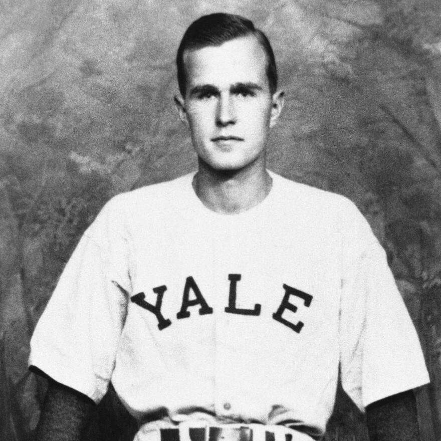 George Bush is shown as captain of the Yale baseball team, 1947.