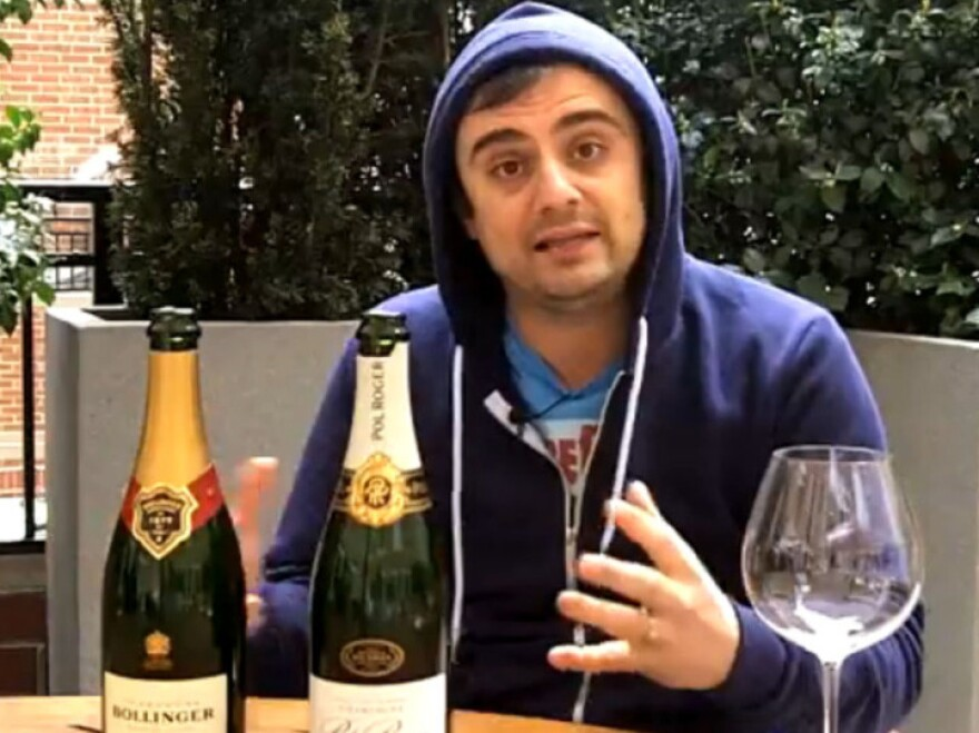 """Gary Vaynerchuk <a href=""""http://dailygrape.com/videos"""">reviews wines</a>, including the official champagne of Prince William and Kate Middleton's wedding, for the Daily Grape. Vaynerchuk began video blogging wine reviews in 2006."""