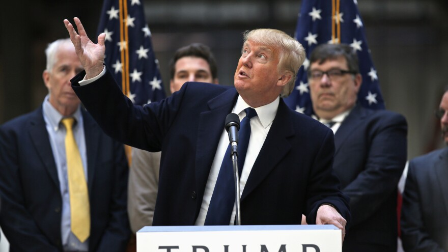 Donald Trump speaks during a campaign event in the atrium of the Old Post Office Pavilion in Washington, D.C. It is soon to be a Trump hotel.