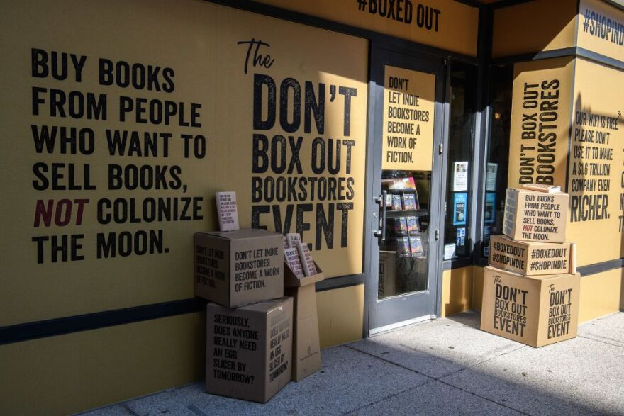 The American Booksellers Association has launched an advertising campaign against Amazon to alert the public to what it calls the growing danger that book stores are under from the online goliath during the coronavirus pandemic. (Nicholas Kamm/AFP/Getty Images)
