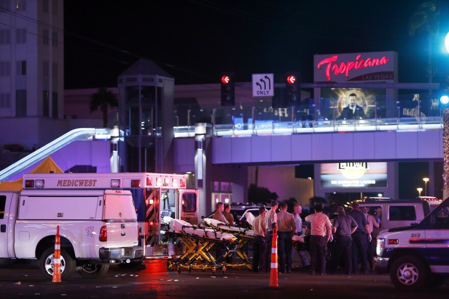 Medical workers set up a staging area near the Route 91 Harvest festival concert on the Las Vegas Strip on Sunday. Gunfire was reported around 10:08 p.m. local time, Clark County Sheriff Joe Lombardo said at a news briefing.