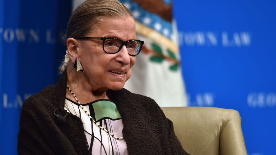 Supreme Court Justice Ruth Bader Ginsburg during a talk with Georgetown University law students in Washington.