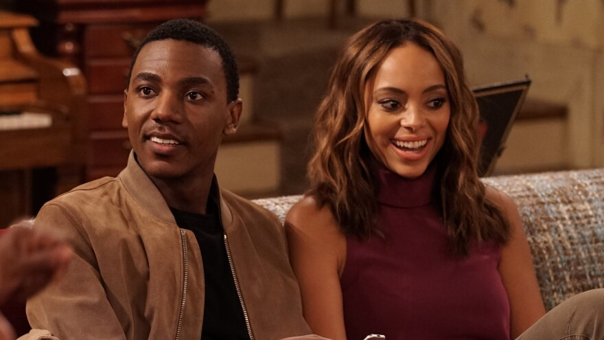 """Jerrod Carmichael (shown with actress Amber Stevens West)   says that the family debates on <em>The Carmichael Show</em> are inspired by real life. """"I grew up in a household that's very argumentative,"""" he explains."""