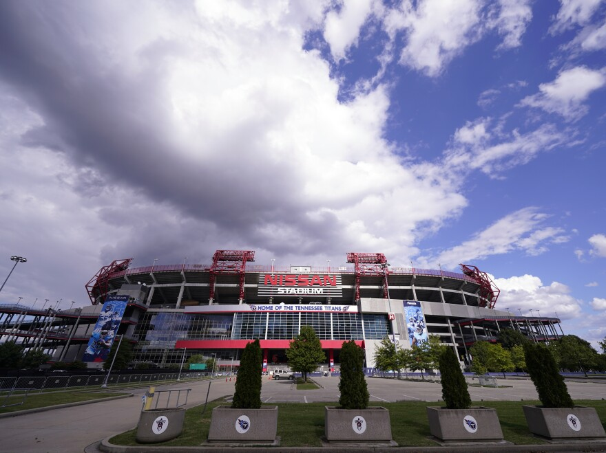 Nissan Stadium, home of the Tennessee Titans, is shown on Tuesday in Nashville, Tenn. The Titans' game against the Pittsburgh Steelers, which had been scheduled for Sunday, has been delayed.