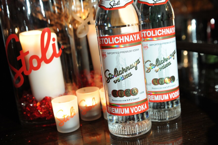 "If you look carefully, you'll see that the labels on bottles of Stolichnaya vodka sold outside Russia (like these in New York City) read ""Premium Vodka,"" not ""Russian Vodka."""