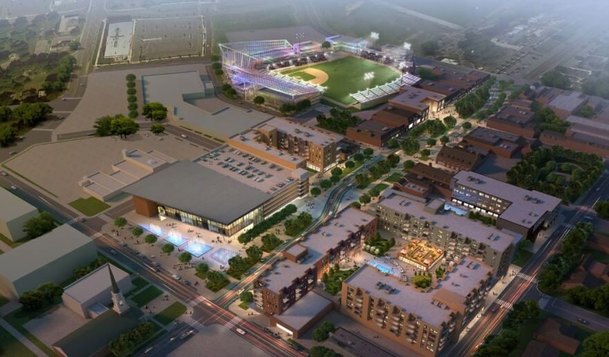 Illustration of the downtown Kannapolis redevelopment, including apartments and shops (bottom) and a future baseball stadium.