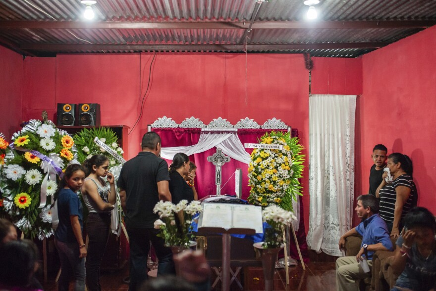 Mourners attend the wake of Nicaraguan university student Gerald Vasquez who was killed over the weekend when police forced students out of the National Autonomous University of Nicaragua in Managua.