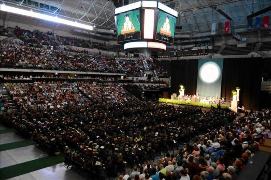 USF Tampa hosted five ceremonies with between 700 and 1,000 graduates each.