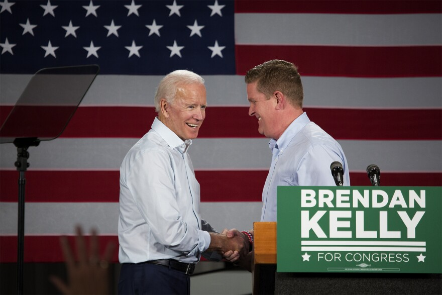 Former Vice President Joe Biden greets congressional candidate Brendan Kelly  at a campaign event in East St. Louis Wednesday afternoon.