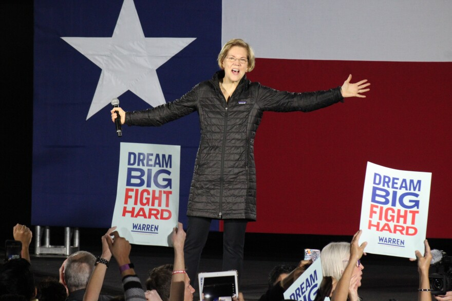 Democratic presidential candidate Elizabeth Warren holds a town hall at San Antonio's Sunset Station on Thursday Feb. 27, 2020.