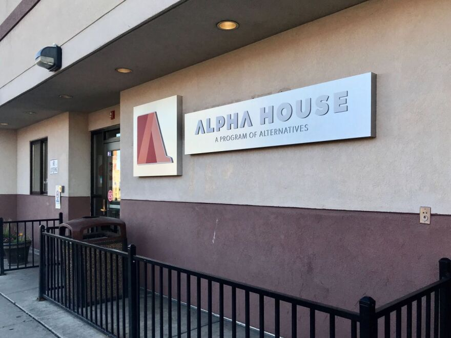 The exterior doors and wall of Alpha House in Billings, Mont.