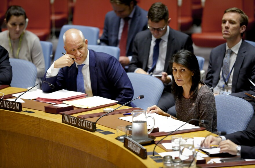 U.S. Ambassador to the United Nations Nikki Haley addresses the U.N. Security Council earlier this month.