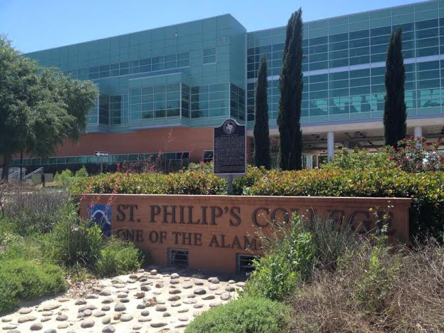 A sign on the campus of St. Philip's College, one of the five community colleges in the Alamo Colleges District.