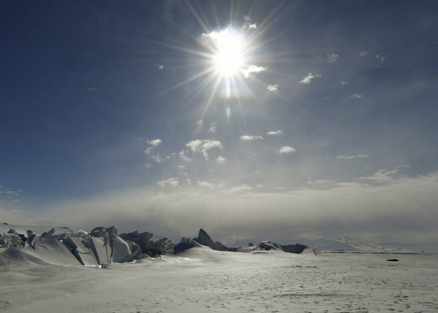 A frozen section of the Ross Sea is pictured at the Scott Base in Antarctica Saturday, Nov. 12, 2016.  (Mark Ralston/Pool Photo via AP)