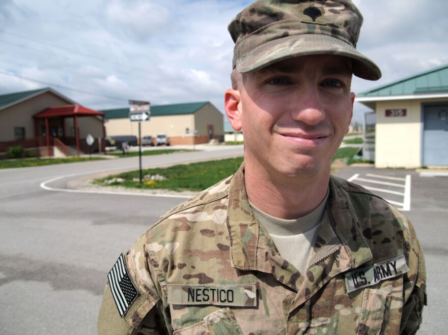Spc. Jonathan Nestico, 27, just completed his first combat tour with the 182nd Infantry Regiment. Nestico saw a mental health counselor at Camp Atterbury to start working through some issues: an IED attack, his family's financial problems and worries about fitting in back home.